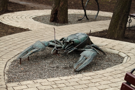 The forged sculpture is in the city park of Donetsk Stock Photo - 13914028