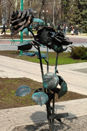 donetsk: The forged sculpture is in the city park of Donetsk