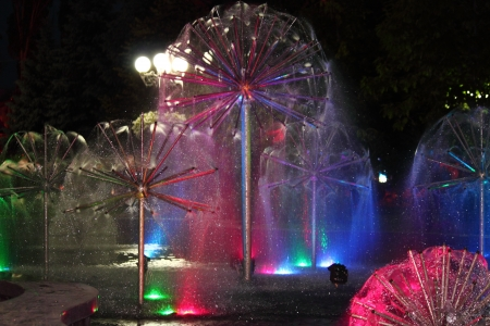 Night Fountain with color illumination Stock Photo - 14185295
