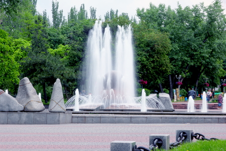 Large fountain in a city park