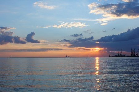 sunset on the sea Stock Photo