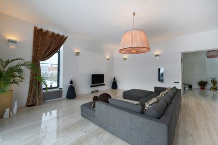 #75075125   Russland, Moskauer Region   Wohnzimmer Innenarchitektur In  Neuen Luxus Landhaus