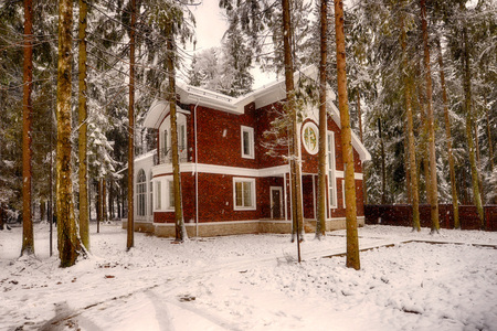 elite: Russia, a country house in the winter with white snow