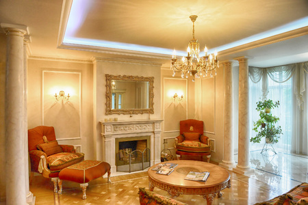 fireplace living room: Russia, the Moscow region - a fireplace in the interior of the living room of a luxurious country house.