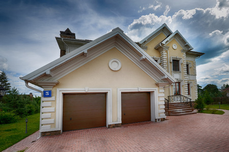 Russia, Moscow region-car garage with a country house Stock Photo