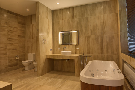Interior design stylish bathroom luxury house. Archivio Fotografico