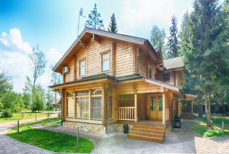Wooden country house. Stock Photo