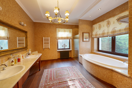 Modern interior of the bathroom in the new house. Stock Photo