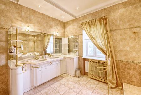 Interior design stylish bathroom luxury house. Stock Photo