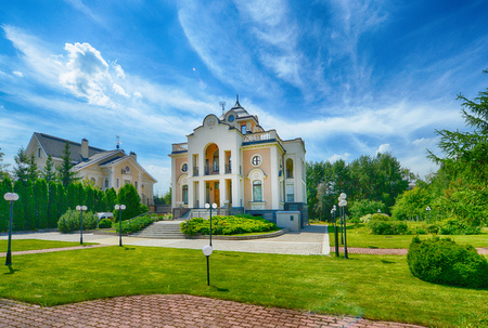 Country house and beautiful house with landscape design.