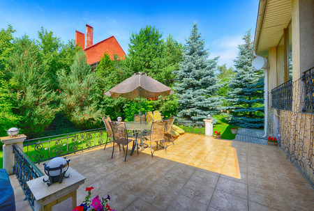 Russia, Moscow area, outdoor summer terrace in the prestigious country cottage