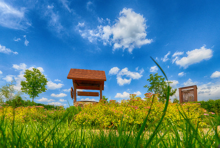 Russia, Moscow region-the windmill in the Park on a Sunny summer day Stock Photo