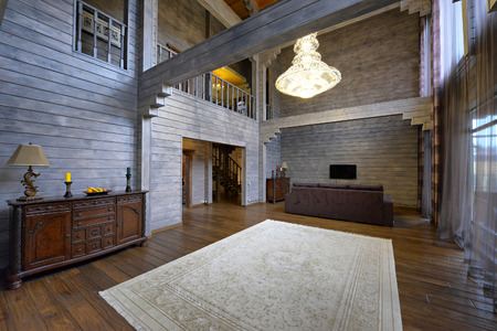 The interior of the wooden house. Stock Photo