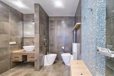 Interior design stylish bathroom luxury house. Standard-Bild