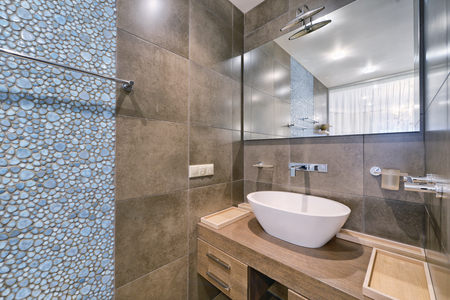 Interior design stylish bathroom luxury house. Фото со стока
