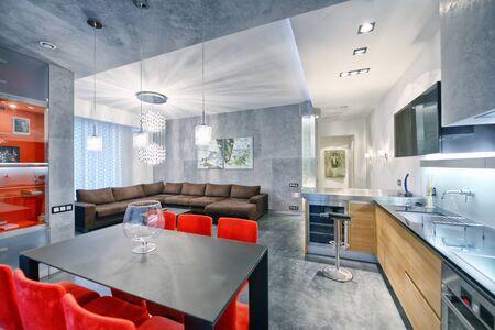 Interior design kitchen - living room in luxury new apartment.