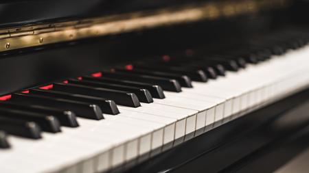 Beautiful close-up of piano keys, selective focus