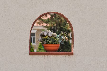 Brown ceramic flower pot contains white roses on wall window Stok Fotoğraf
