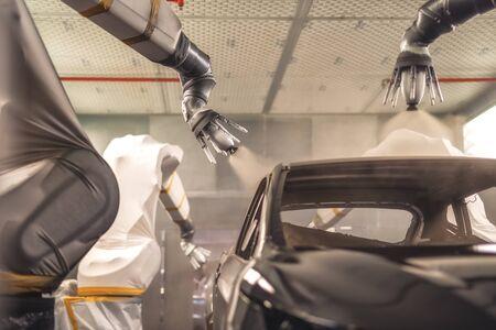Production line of automobile plant, paint shop. Car body after applying the base paint. Banque d'images