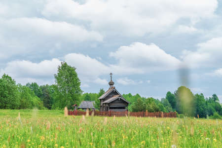 Ancient wooden chapel named after Saint Nicholas. Podporozhsky district, Leningrad region, Russia. Imagens