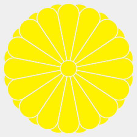 Sixteen petal yellow chrysanthemum on white background. Coat of arms of the Imperial family.