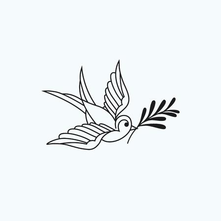 Avaler avec rameau d'olivier, icône sur fond blanc.