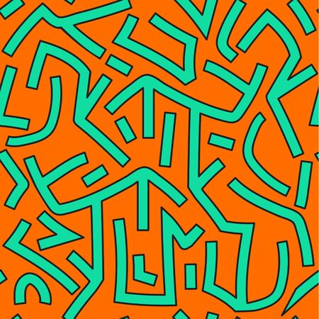 Abstract orange and green graffitti seamless pattern. Vector background. Vettoriali