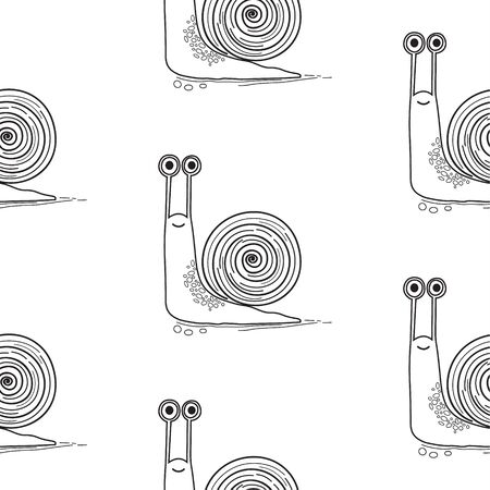 Snails seamless pattern. Symbol of slowness. Vector background. Ilustração