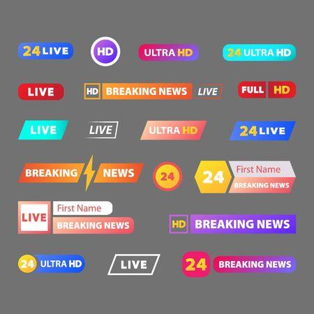Conjunto de barras de noticias de TV. Signo de tercio inferior, noticias en vivo. Banners para retransmisión de vídeos televisivos. Ilustración de vector.
