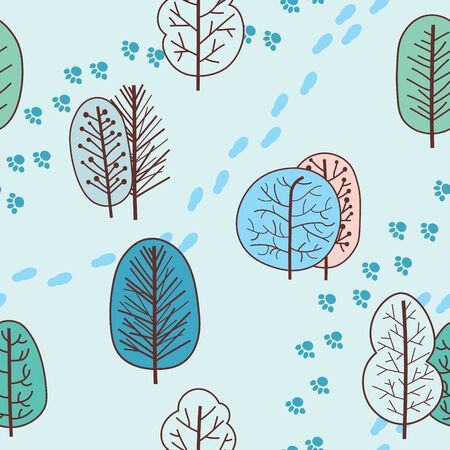 Winter seamless pattern with abstract stylized trees and footprints. Vector background. Banque d'images - 138358326
