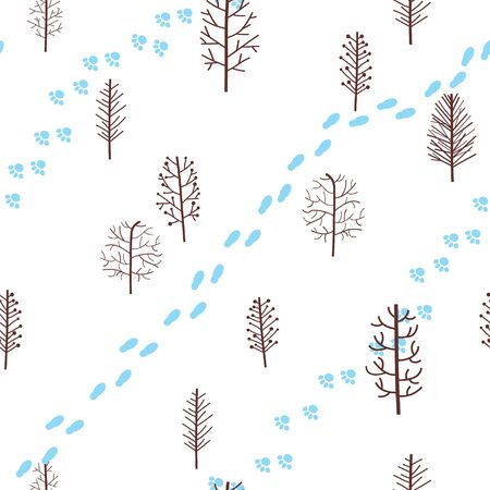 Winter seamless pattern with abstract stylized trees and footprints. Vector background. Banque d'images - 138358323