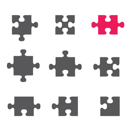 Ensemble d'icônes plates de puzzle, pictogramme sur fond blanc. Illustration vectorielle.