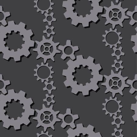 Gear mechanism seamless pattern. Different gears. Vector background. Ilustración de vector