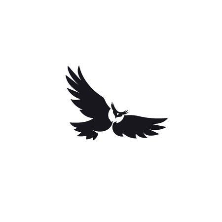 Owl black icons on white background. Flying night bird icon. Ilustracja