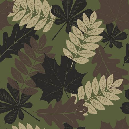 Camouflage seamless pattern with leaves. Vector background.