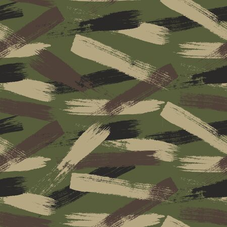 Camouflage seamless pattern, grunge style. Vector background.
