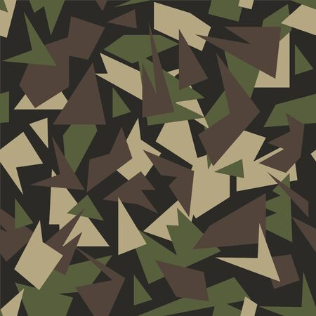 Abstract geometric camouflage seamless pattern. Vector background.