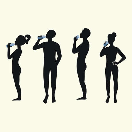 Silhouettes of people drinking water. Silhouettes of men and women.