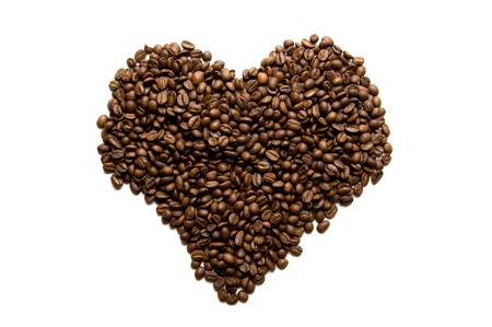 heart made from coffee beans photo