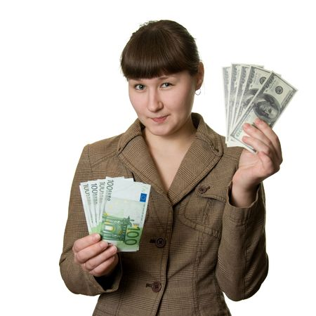 confide: young woman with euros and dollars over white