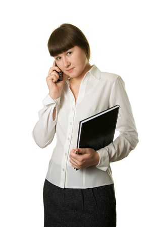 appointment book: attractive business woman with phone over white Stock Photo