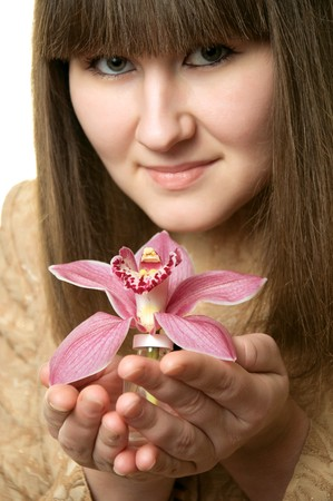 magnificence: portrait of woman with orchid