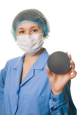wafers: portrait of engineer in semiconductor area Stock Photo