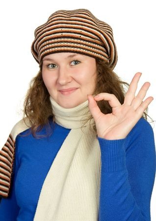 adoradle woman is showing gesture over white photo