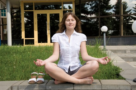 meditation of white-collar worker outdoor photo