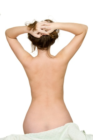 20s nude: beautiful back of woman over white