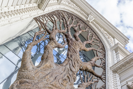 eclecticism: Just bronze tree decorating main entrance of the Palace of farmers in Kazan, Tatarstan, Russia