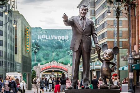 Paris, France - September 13, 2015: Monument of Walt Disney and Mickey in Walt Disney Studio park of atrractions.