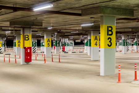 labeled: Underground car park without cars, with sections labeled