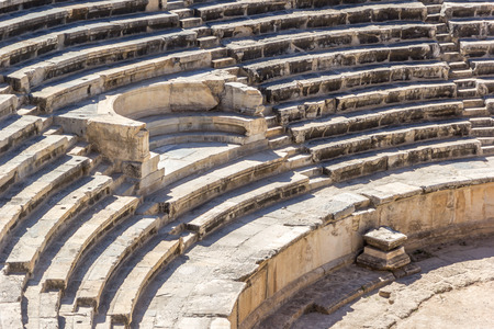 pamukkale: Place for VIP in amphitheater in ancient Hierapolis, Pamukkale, Turkey